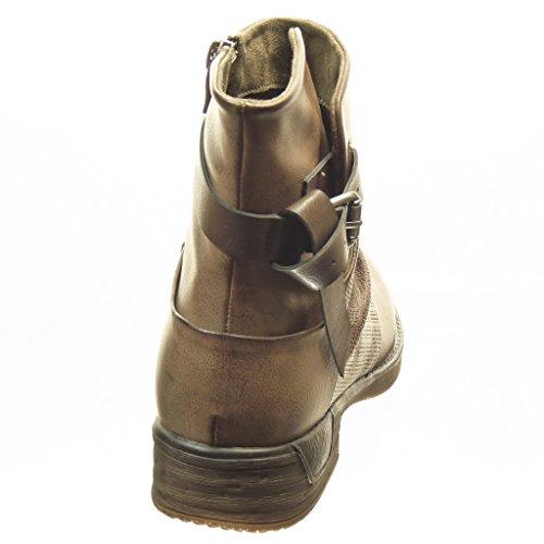 A Cm Angkorly Perforato Donna Biker Foderato Fibbia Soletta Cavalier Pelliccia Khaki 3 Di Moda Scarponcini Stivaletti Tanga Scarpe Tacco Blocco r6SP0r