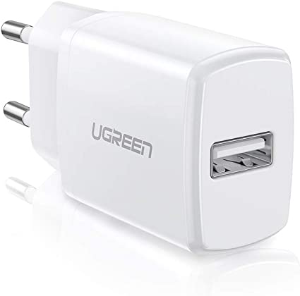 UGREEN Chargeur USB Secteur Chargeur Mural Universel 2,1A Supporte Charge Intelligente Compatible iPhone, iPad, Samsung Galaxy J3 J4 J5 J6 J7 A50,