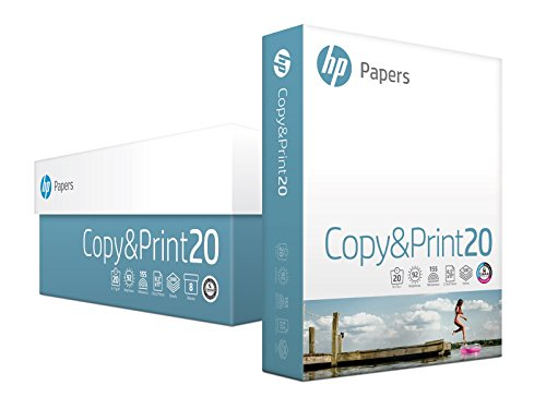 HP Printer Paper, Copy and Print20, 8.5 x 11, Letter, 20lb, 92 Bright, 4,000 Sheets / 8 Ream Carton (200170C) Made In The USA