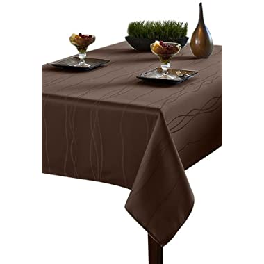 Benson Mills Gourmet Spillproof Heavy Weight Fabric Tablecloth, Chocolate, 52-inch by 70-inch