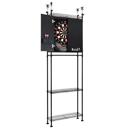 BLITZER(ブリッツァー) キャビネットダーツスタンド スチールラック方式採用組み立て式 【本体サイズ:約H 221 x W72.5 x D22.5 cm】 自立式 棚板奥行き20cm 薄型 BSD25-BK