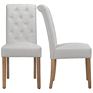 Yaheetech Solid Wood Dining Chairs Button Tufted Parsons Diner Chair Upholstered Fabric Dining Room Chairs Kitchen…