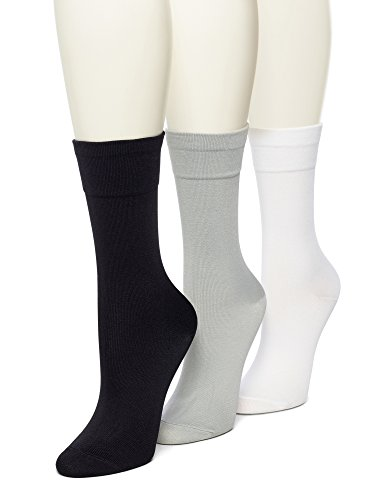 No Nonsense Women's Ultra Smooth Sock 3-Pack, Solid Assor...