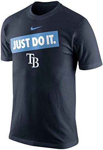 Nike Tampa Bay Rays Men's MLB Just Do It Bumper Sticker Graphic T-Shirt (Small, Navy Blue)