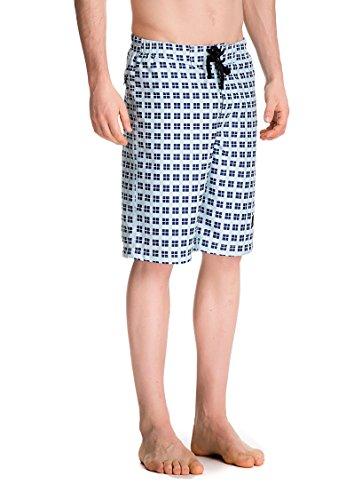 Trailside Supply Co. Men's Sportwear Quick Dry Beach Board Shorts with Mesh Lining (Lattice Blue (Boardshort Blue Clothing)