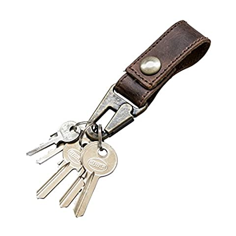 Rustic Leather Key Ring Holder Handmade by Hide & Drink :: Bourbon Brown
