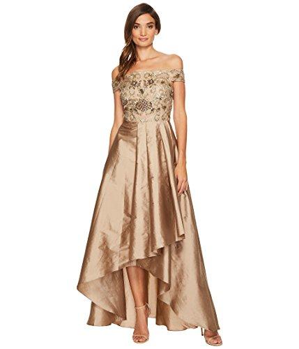 温帯重要刈る[アドリアナパペル] Adrianna Papell レディース Beaded Off the Shoulder Gown with High-Low Taffetta Skirt ドレス [並行輸入品]