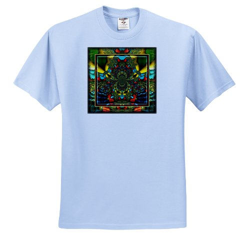 (mimulux Psychedellic Art - PSYCHEDELLICA 2 hippie flowerpower retro fractal psychedellic red yellow blue retro oriental india - T-Shirts - Toddler Light-Blue-T-Shirt (3T))