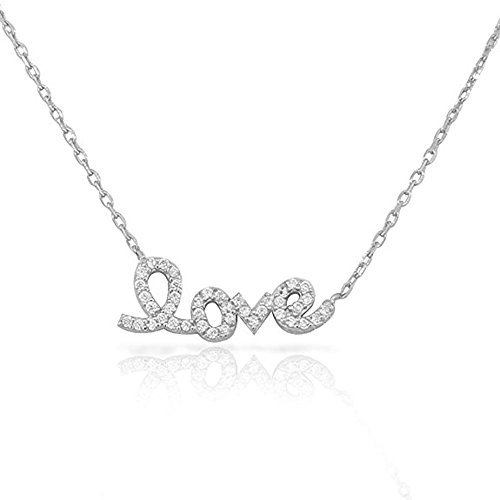 espere Sterling Silver Rhodium Plated Love Letter Necklace Valentine's Day Valentines Girlfriend Necklaces (16' Cubic Zirconia Fashion Necklace)