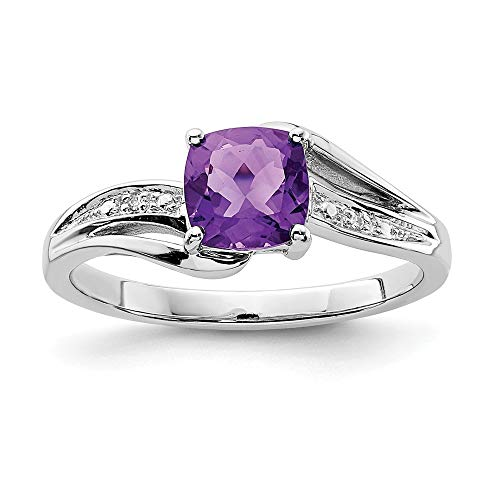 925 Sterling Silver Diamond Purple Amethyst Square Band Ring Size 7.00 Gemstone Fine Jewelry Gifts For Women For Her