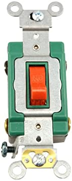 Leviton 3032-2R 30 Amp, 120/277 Volt, Toggle Double-Pole AC Quiet Switch, Extra Heavy Duty Spec Grade, Self Grounding, Back and Side Wired, Red