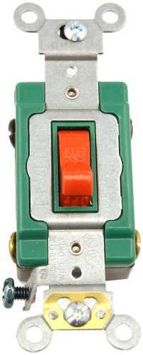 mp, 120/277 Volt, Toggle Double-Pole AC Quiet Switch, Extra Heavy Duty Spec Grade, Self Grounding, Back and Side Wired, Red ()
