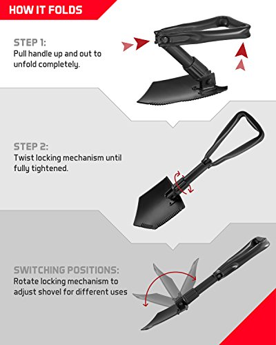 TAC9ER Collapsible E-Tool Shovel - Portable, Metal, Folding, Tactical Military Shovel with Serrated Steel Blade and Carrying Case for Camping, Backpacking, Gardening, and Survival by TAC9ER (Image #4)