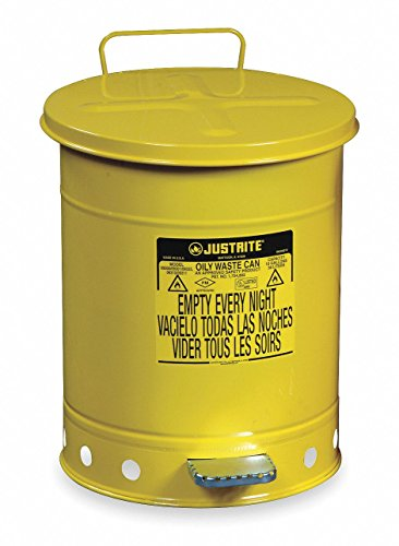 Justrite 09501 14 Gallon, Galvanized-Steel Yellow Safety Cans for Oily Waste ()