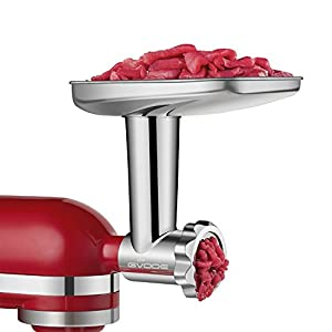 Food Grinder Attachment for KitchenAid Stand Mixers Including Sausage Stuffer, All Stainless Steel,Dishwasher Safe, Durable Mixer Accessories as Meat Processor