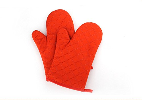 MiroDenKone Baking High Temperature Oven Gloves Microwave Oven Gloves Insulation Thickening Lengthened Oven Mitts (Orange)