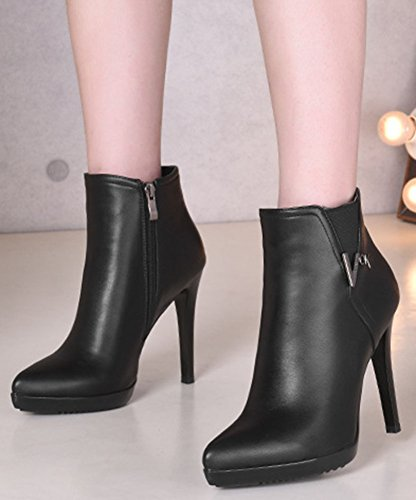 Comfy Zipper Stiletto Black Pointed Heel High Ankle Side Booties Women's Easemax Toe high Rx5XZZq