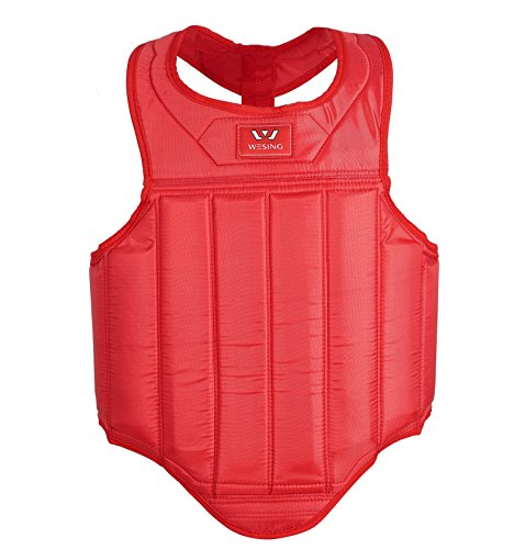 wesing Martial Arts Muay Thai Boxing Chest Protector By Red, Small(59in~63in,105.6lb~114.4lb)