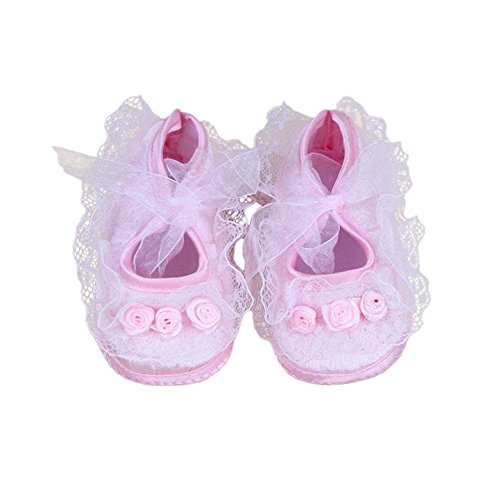 Lurryly Baby Pre-Walker Shoes Rose Flowers Newborn Baby Shoes Soft Shoes 0-12 - 30 Rose Tweed