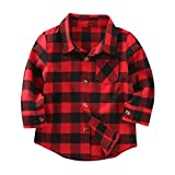 Mini-honey-Kids-Little-Boys-Girls-Baby-Long-Sleeve-Button-Down-Red-Plaid-Flannel-Shirt-Plaid-Girl-Boy-NB4T-121