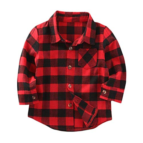 le Boys Girls Baby Long Sleeve Button Down Red Plaid Flannel Shirt Plaid Girl Boy NB-4T (12-18 Months, Red) ()