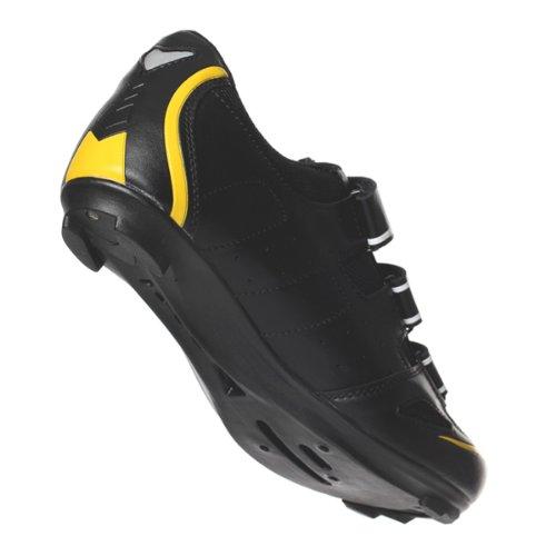 Eigo Radfahr-Schuhe Theta, Schwarz / Weiß / Gelb