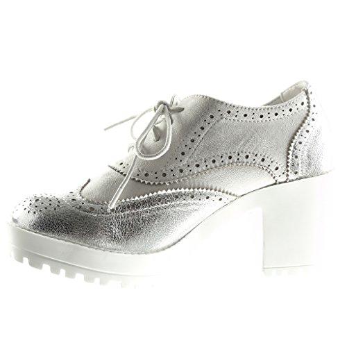 Angkorly Moda Zapato Cm Talón Plataforma 7 Acento Brillantes Perforado Plata Mujer 5 Zapatillas rqUfr