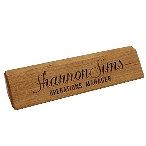 (Personalized Desk Wedge Name Plate - Custom Engraved Business Gifts (Bamboo Wood))