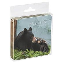 Tree-Free Greetings Set Of 4 Cork-Backed Coasters, 3.75x3.75-Inch, Bear Family Themed Wildlife Art (52883)