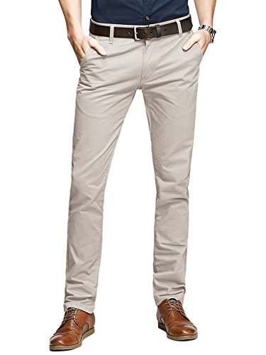 OCHENTA Men's Slim Tapered Flat Front Casual Dress Pants Beige Lable 32