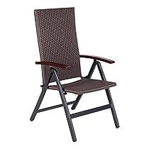 Vanage Gartenstuhl in braun - Klappstuhl GS-geprüft & verstellbar - Gartenmöbel Outdoor Polyrattansessel - hochwertiger Relaxsessel für Balkon & Terrasse