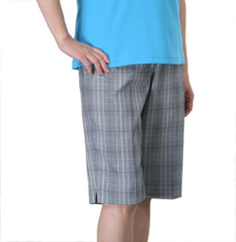 Monterey Club Ladies Stretchable Plaid Bermuda Shorts #2821 (Gray/Malibu Blue, Size:10) ()