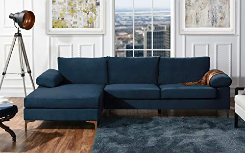DIVANO ROMA FURNITURE Modern Large Velvet Fabric Sectional Sofa, L-Shape Couch with Extra Wide Chaise Lounge ()
