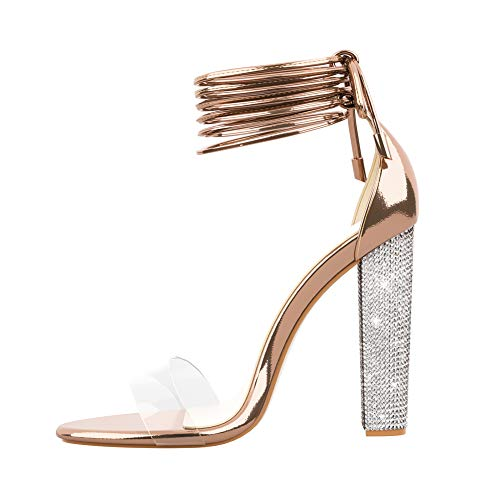 49dd24fb2c5 LALA IKAI Women's Gold High Heels Sandals with Rhinestone Ankle Strappy  Clear Chunky Heels Dress Party Pumps Shoes Rose Gold 7.5