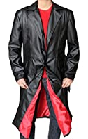 New Blade Leather Trench Mens Long Coat Black