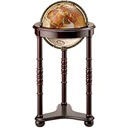 "Replogle Lancaster—Bronze Metallic, Dark Cherry Wood Finish, Floor Model Globe, Perfect for Anyone Looking for a Elegant Floor Standing Globe That Fits Small Spaces (12""/30 cm diameter)"