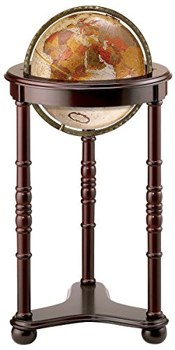 (Replogle Lancaster-Bronze Metallic, Dark Cherry Wood Finish, Floor Model Globe, Perfect for Anyone Looking for a Elegant Floor Standing Globe That Fits Small Spaces (12