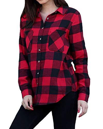 ACHIOOWA Womens Buffalo Plaid Shirt Flannel Long Sleeve Tops Button Down Collar with Pocket Red 4-6