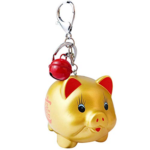 (meiyuan Lovely Cute Cartoon Soft PVC Fortune Pig Key Ring Holder Keychain Bag Car Hanging Ornament Gift Golden )