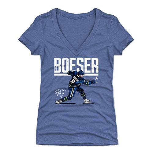 500 LEVEL Brock Boeser Women's V-Neck Shirt (Small, Tri Royal) - Vancouver Canucks Shirt for Women - Brock Boeser Hyper W WHT