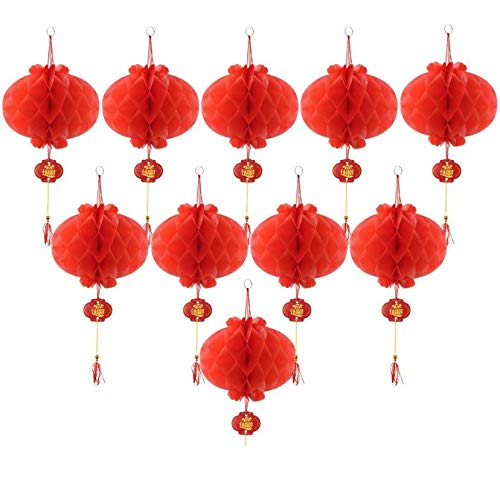 Red Chinese New Year Mini Round Pineapple Lantern Reusable Outdoor Indoor Hanging Party Decoration 4 Festival Anniversary Christmas Wedding Engagement Happy Birthday Set of 10 Decorative