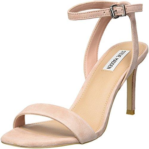 Steve Madden Women's Faith Heeled Sandal, Blush Suede, 9 M US