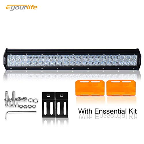 """Eyourlife 2 Pcs 20"""" 126W Light Bar With Amber Protective Cov"""