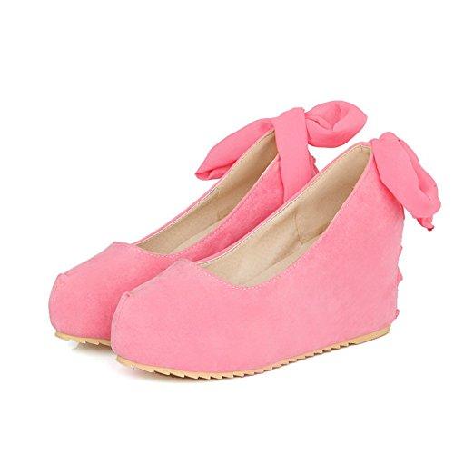 Allhqfashion Soletta Tacco Alto Da Donna Con Tacco A Spillo Tondo-scarpe Rosa
