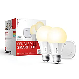 Sengled Smart light Bulb Starter Kit, Smart Bulbs that Work with Alexa & Google Home, Smart Bulb Support 2.4G&5G, A19 Alexa Light Bulbs, Smart LED Soft White Light, 9W, 2 Smart Bulbs & 1 Smart Hub