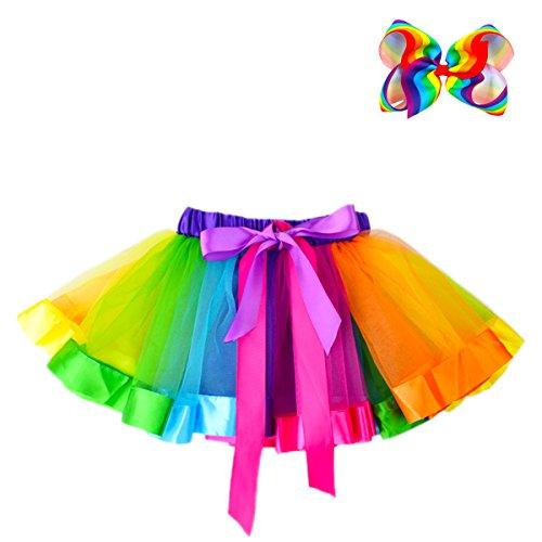 JiaDuo Girls Layered Rainbow Tutu Skirt Dance Ruffle Hair Bow Clips L