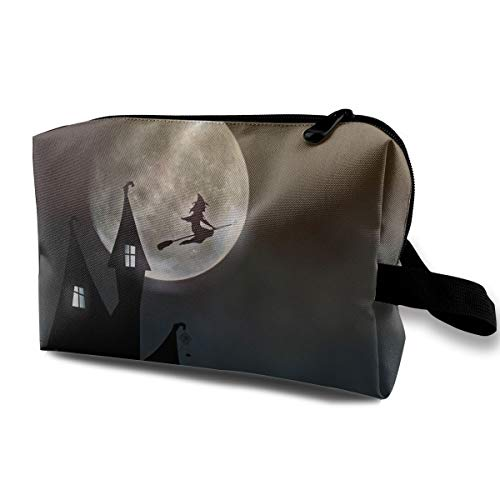 FSXIK Witch House Moonlight Creepy Halloween Colored Novelty Women Cosmetic Bag Quality Zipper Single Layer Travel Storage Makeup Bags Purse