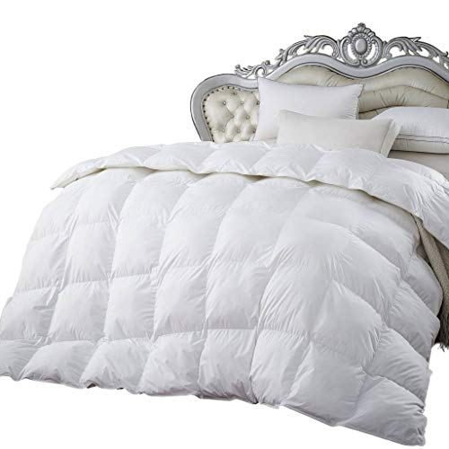 Egyptian Cotton Factory Outlet Store 900 Thread Count Baffle Box Medium Weight Goose Down Comforter, All Year, White, ()