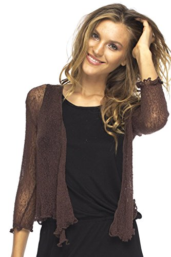 Brown Dress Jeans Summer - Back From Bali Womens Lightweight Knit Cardigan Shrug Lite Sheer Brown