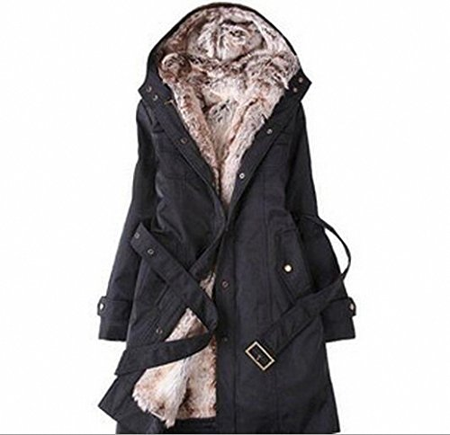 Autumn Winters Fashionable Plus-Size Women's Hooded Coat/Thickening Of The Warm Long Cotton-Padded Clothes Black XXXL